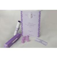 Vabilo - belo/lila - škatlica/diploma