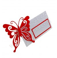 Kartica za sedežni red - rdeča/metuljček