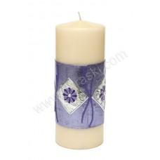 Poročna sveča - lila/rožice