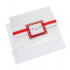 Vabilo - belo/rdeče - okvirček