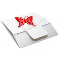 Vabilo - belo/rdeče - metuljček