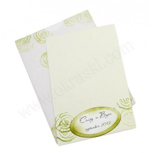 Poročna zahvala - zelena/vrtnice
