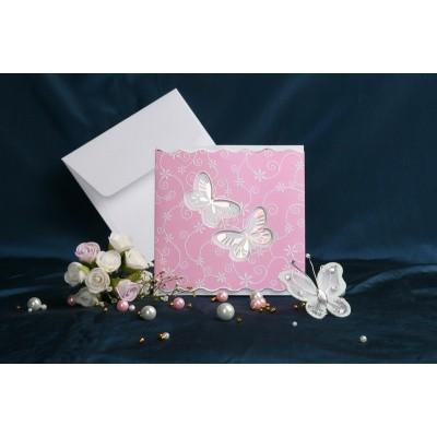 Vabilo - roza/belo - metuljčka