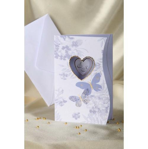 Vabilo - modra metulja in srčka