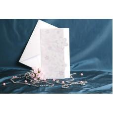 Vabilo - belo z roza rožicami