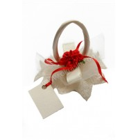 Poročni konfet - košarica/rdeča rožica