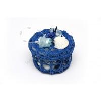 Poročni konfet - pletena škatlica/morska