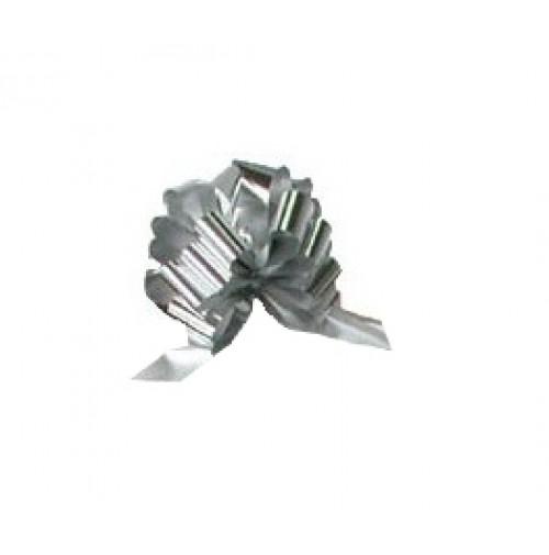 Mašna na poteg - metalik srebrna - velika