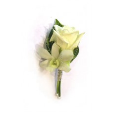 Poročni naprsni šopek 5 - pravo cvetje