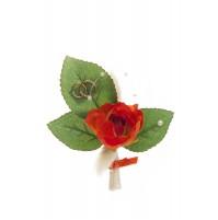 Poročni naprsni šopek - oranžno/zelen - vrtnica