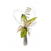 Poročni naprsni šopek - zeleno/bel - kala