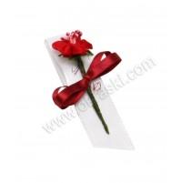 Poročni naprsni šopek - bordo/rdeča - rožica