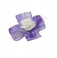 Poročni naprsni šopek - lila/vrtnica 5