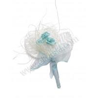 Poročni naprsni šopek - moder/vrtnica 1