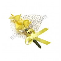 Poročni naprsni šopek - rumen/kala 4