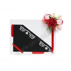 Poročna zahvala - rdeče/črna - vrtnica