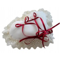 Poročna blazinica - srce/bež-rdeče