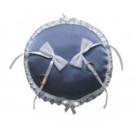 Poročna blazinica - okrogla/modro-bela