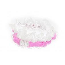 Poročna podvezica - belo/pink