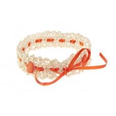Poročna podvezica - belo/oranžna