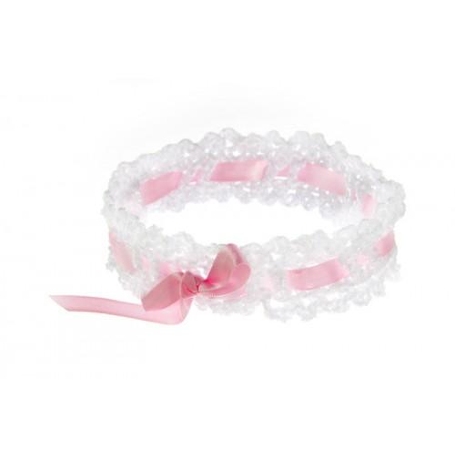 Poročna podvezica - belo/roza 02