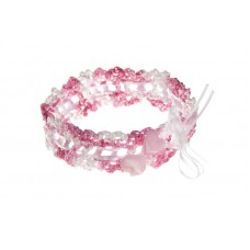 Poročna podvezica - pink/srce
