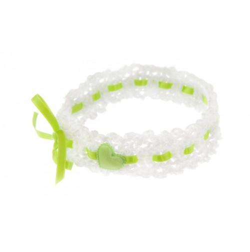 Poročna podvezica - belo/zelena
