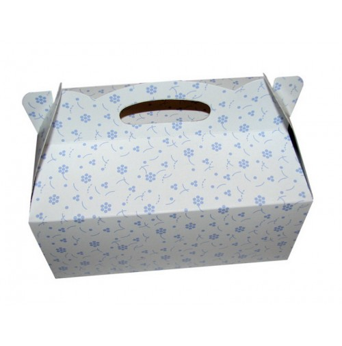 Poročna škatla za pecivo - modre rožice