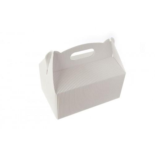 Poročna škatla za pecivo - bela - valovita