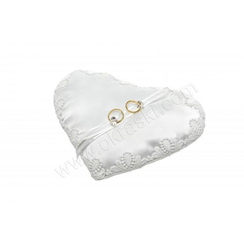 Poročna blazinica - srce/bela - trak