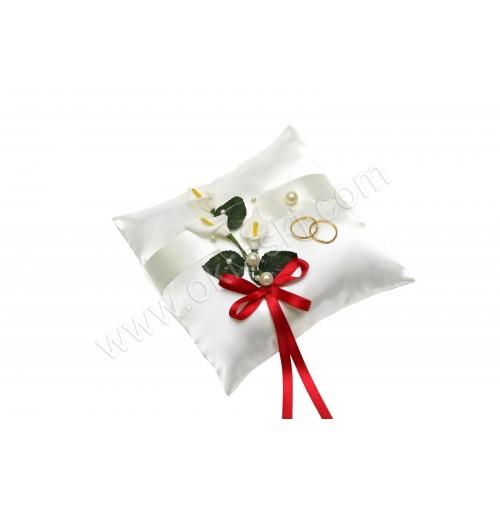 Poročna blazinica - kvadrat/rdeča - kala