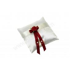 Poročna blazinica - kvadrat/bordo - vrtnica