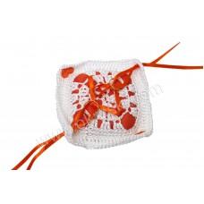 Poročna blazinica - kvačkano - kvadrat/mala - oranžna