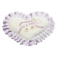 Poročna blazinica-lila/srce