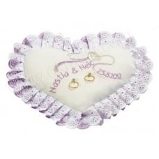 Poročna blazinica - lila/srce