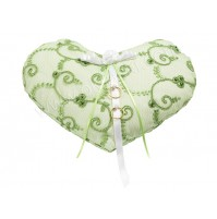 Poročna blazinica - zeleno/srce