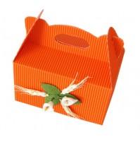 Poročna škatla za pecivo - oranžna - večja
