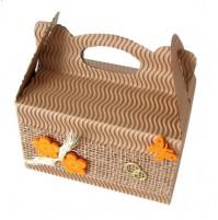 Poročna škatla za pecivo - rjava