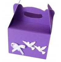 Poročna škatla za pecivo - vijolčna/golobčka