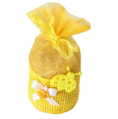 Poročni mošnjiček za riž - rumen