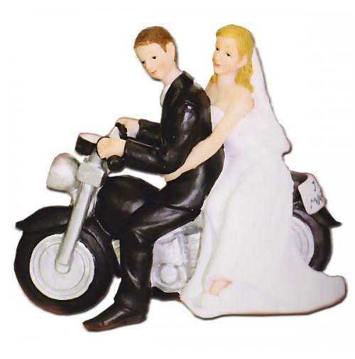 Poročna figura - ženin in nevesta na motorju
