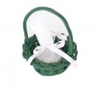 Poročni konfet - košarica/zelen