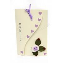 Vabilo - vrtnica - lila/bež