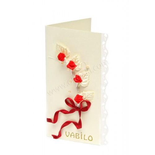 Vabilo - vrtnica - belo/rdeča