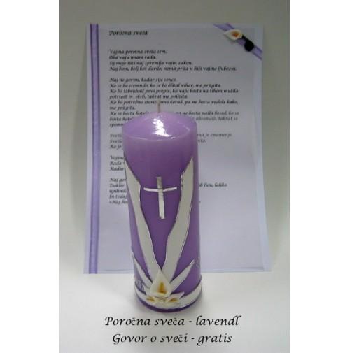 Poročni komplet - sveča - lila