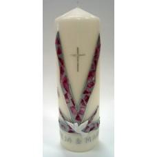 Poročna sveča - pink/srebrna