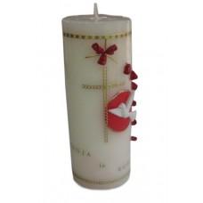 Poročna sveča - rdeča/vrtnica