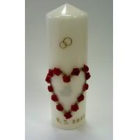 Poročna sveča - rdeča/vrtnica - srce