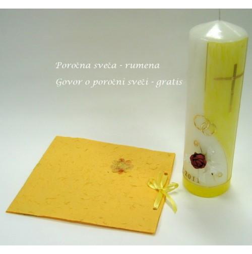 Poročni komplet - sveča - rumen