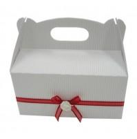Poročna škatla za pecivo - bela/rdeča